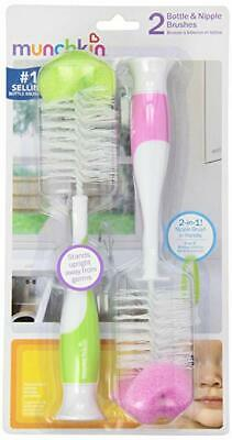 Munchkin Bottle and Nipple Brush - 2 Count - Color are Assorted