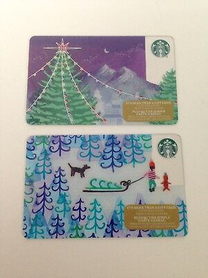 Lot of 2 STARBUCKS 2017 Holiday Tree Gift Cards ZERO $ Balance No Value (CDN)