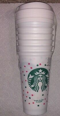 NEW - Starbucks Coffee Reusable Cups - Red & Green Spots Tumblers 16 oz 6 Pack.
