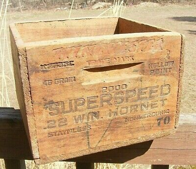 Rare Vintage WINCHESTER Wooden Box Ammo Wood Crate .22 HORNET Superspeed Shells