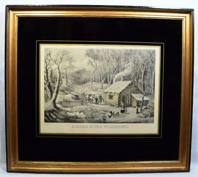Original Currier Ives Engraving A Home in the Wilderness Antique Frame 19thC