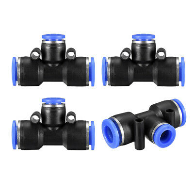 "4pcs Push to Connect Fittings T Type 25/64"" -5/16"" od Tube Fittings Blue"