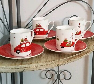 Graces Teaware MERRY CHRISTMAS SMALL TEA SET ESPRESSO CUPS SAUCERS SET 4