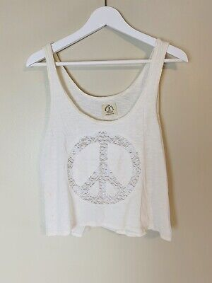 American Eagle Outfitters Vintage T Peace Sign Women Large Off White
