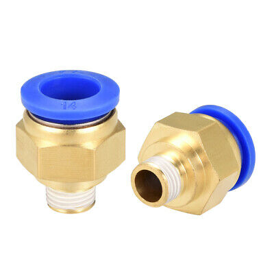 """2Pcs 1/4"""" G Male Straight Thread 14mm Push In Joint Pneumatic Quick Fittings"""