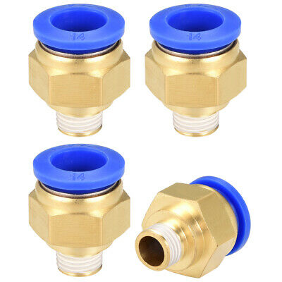 """4Pcs 1/4"""" G Male Straight Thread 14mm Push In Joint Pneumatic Quick Fittings"""