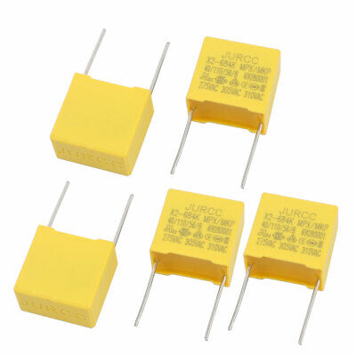 5Pcs Metal Axial Leads Safety Polyester Film Capacitor 310VAC 0.68uF Yellow