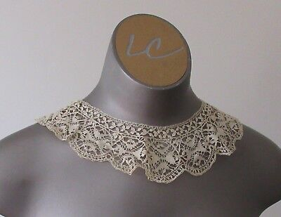 Antique Victorian/Edwardian Lace Collar - M Handmade Maltese Bobbin lace
