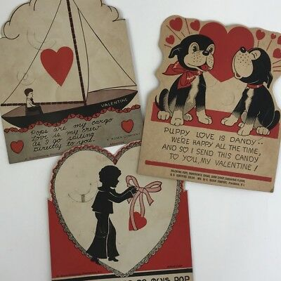 VINTAGE VALENTINES DAY Greeting Cards Lot Of 3 E Rosen