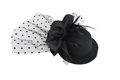 Victorian Vintage Black Top Hat Hair Clip with Flower and  Feather Hair Clip