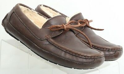 9b1a7852ccb UGG AUSTRALIA BYRON Chocolate Brown Shearling Moccasin Slipper 5161 Men's  US 9