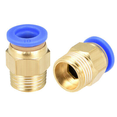 """2 Pcs 3/8"""" G Male Straight Thread 10mm Push In Joint Pneumatic Quick Fittings"""
