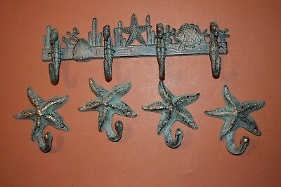 (5), Seahorse Towel Rack Ocean Bath Decor, Cast Iron Nautical Decor, Bronze-look