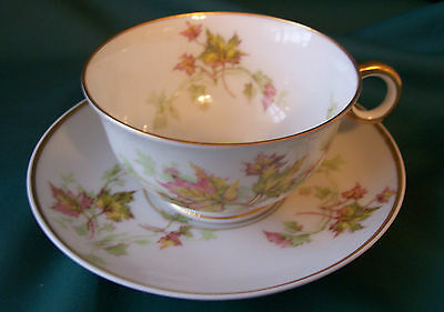 France Haviland Limoges China Autumn Leaf Gold Trim Cup and Saucer