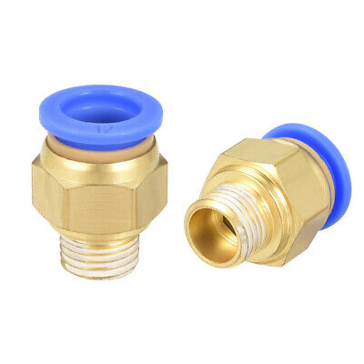 "2 Pcs 1/4"" G Male Straight Thread 12mm Push In Joint Pneumatic Quick Fittings"