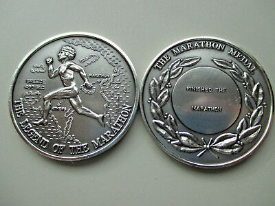 Marathon Medals 1 troy oz. 999 fine Antiqued Silver - Ready to Engrave
