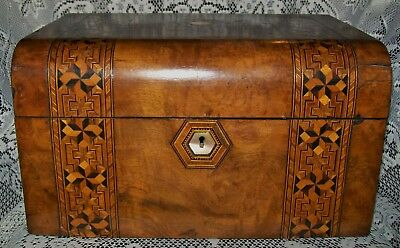 ANTIQUE INLAID WOOD BOX hidden base tray, 6 glass bottles/jars *no key* c.1800s