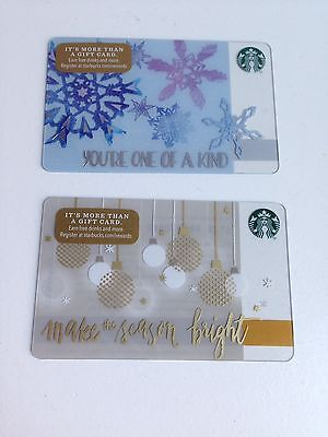 Lot of 2 STARBUCKS Gift Cards Holiday Snowflakes ZERO $ Balance (USA) No Value