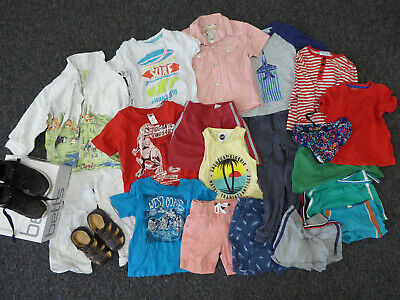 Mix Lot Boys Clothes Size 3 - Betts Shoes Size 9.5 Sandal Shorts Shirts Pjs