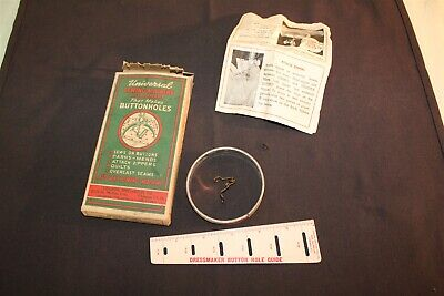 Vintage Universal Button Hole Sewing Machine Attachment in ORG Box with Guide