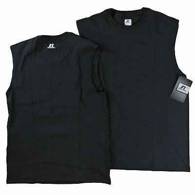 Russell Athletic 100%Cotton Sleeveless Muscle T Shirt Black Size Small