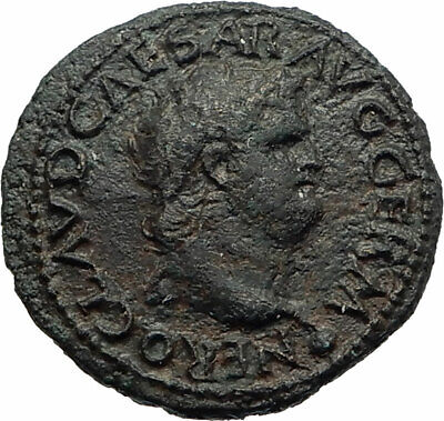 NERO Authentic Ancient 65AD Lugdunum Lyon Genuine Semis Roman Coin w ROMA i74616