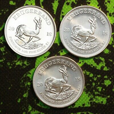 Lot of 3 - 2018 South Africa 1 oz Silver Krugerrand .999 Silver Coin- 3 oz total