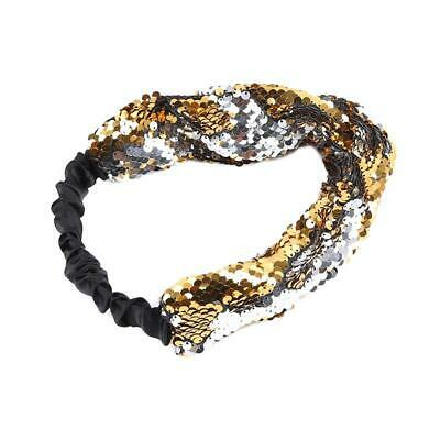 Head Band Hairband  Wide Reversible Sequin Headband Hair Hoop Accessory Women J