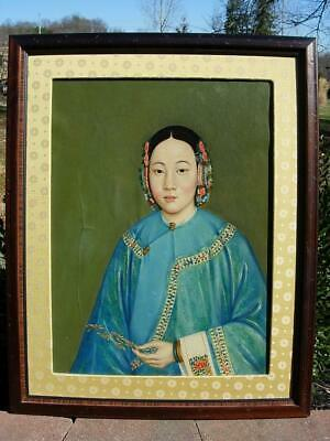 An Antique Chinese Painting, Portrait Of A Young Girl, Oil On Canvas
