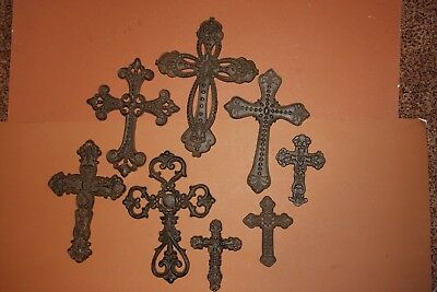"(8) Christian Wall Art, Cross Collection, Cast Iron Christian Crosses,""Leon"""