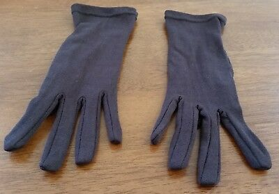 Vintage 80s Chocolate BROWN Nylon Wrist Length Short Day GLOVES One Size