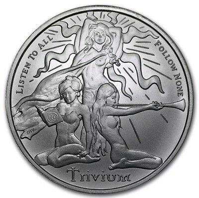 1 Oz Silver Shield Trivium Girls .999 Silver Round Freedom Girl Medallion Coin