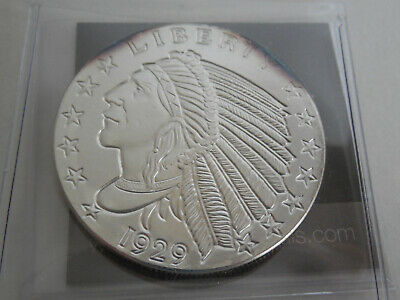 1929 Silver Indian Head Golden State Mint 1 oz Fine Silver Coin Round Incuse