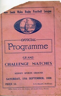 1938 Rugby Leagiue Official Programme Grand Challenge Matches