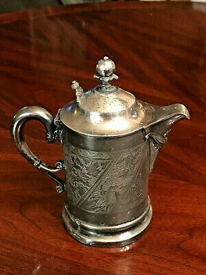 Antique James W. Tufts 4x Silver Plate Small Lidded Pitcher and Saucer