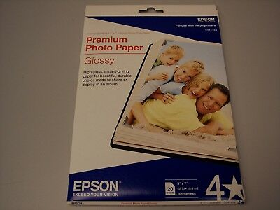 Epson S041464 Premium Photo Paper Glossy 5x7 68lb borderless ink jet 20 sheets