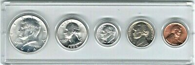 1964P US Mint Uncirculated 5 Coin Set 90% SILVER except Nickle&Cent 1st JFK Half