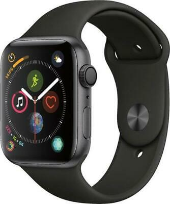 Apple Watch Series 4 44 MM GPS smartwatch Gray with black band A1978 MU6D2LL/A