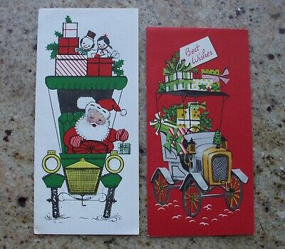 Vintage Christmas Cards.Vintage Christmas Cards Santa Claus Driving Old Fashioned Cars Automobile Dolls