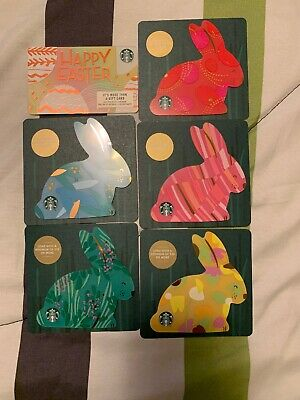NEW STARBUCKS 2019 US EASTER BUNNY DIE CUT CARDS & Happy Easter Card ON HAND