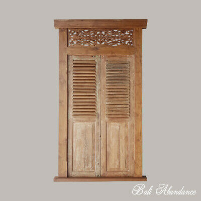 Balinese Original Antique Natural Carved Teak Double Louvre Door - 5i