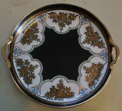 Vintage Nippon Hand Painted Serving Plate with Handles Gold Decoration & Trim