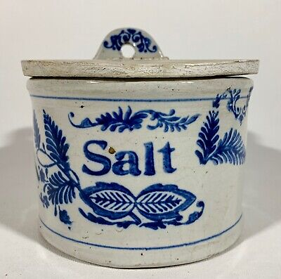 Antique Cobalt Blue and White Wall Salt Crock with Lid Glazed Stoneware