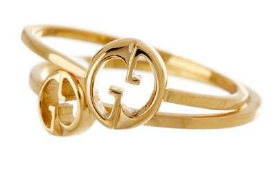 fbc09fbb7 NEW $725 AUTH GUCCI 18K YELLOW GOLD DOUBLE RING SET Size 6.5 w/BOX -