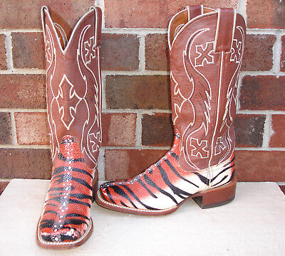 Boys / Girls Nocona Youth Size 6 B Cowboy Square Toe Tiger Boots Womens 7 1/2