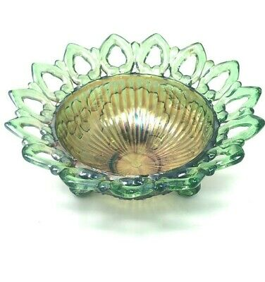 Vintage Northwood Green and Marigold Carnival Glass Footed Dish, Wild Rose Patte