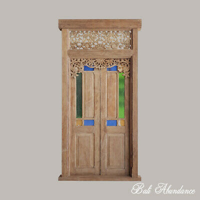 Balinese Original Antique Teak Timber Double Door with Coloured Glass Panel - 9i