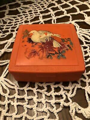 Vintage  Trinket,Coins,sewing Tools ,jewelry Box  Bird Painting Marked Sterling