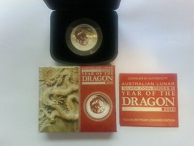 Australia 2012 Year of the Dragon 50 Cents 1/2 Ounce Red Color Silver Proof