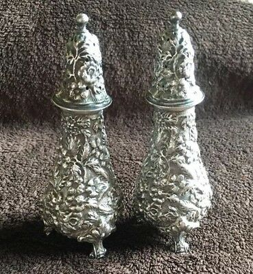 Stieff Rose Sterling Silver Salt And Pepper Shakers- Mono MEH